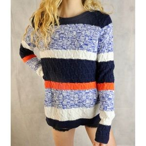LIKE NEW Old Navy Stripe Cable Knit Color Sweater